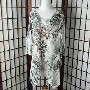 NWT CACTUS Beaded Asymetrical hem tunic Top